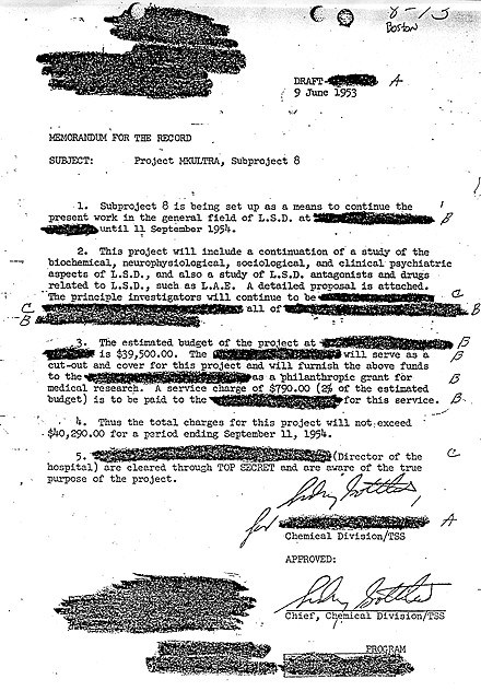 Declassified MK-Ultra Document